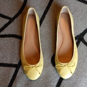 BR yellow leather Robin ballet flats